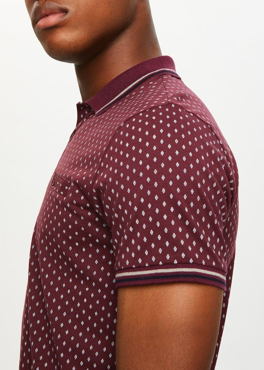 Short Sleeve Printed Polo Shirt