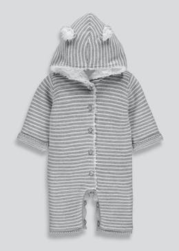 Unisex Stripe 3D Ears Knitted Romper (Tiny Baby-18mths)
