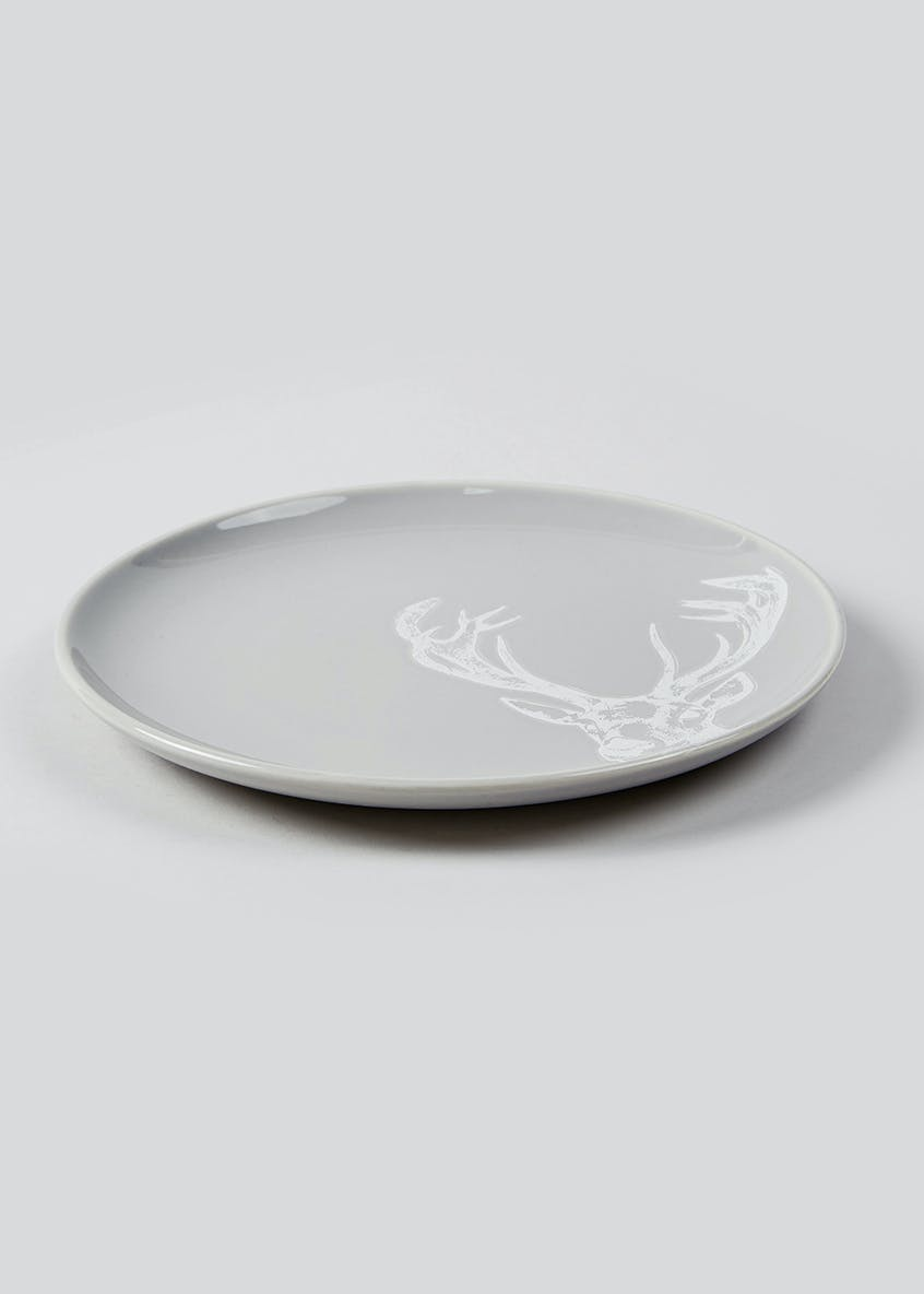 Embossed Stag Christmas Dinner Plate (27cm)