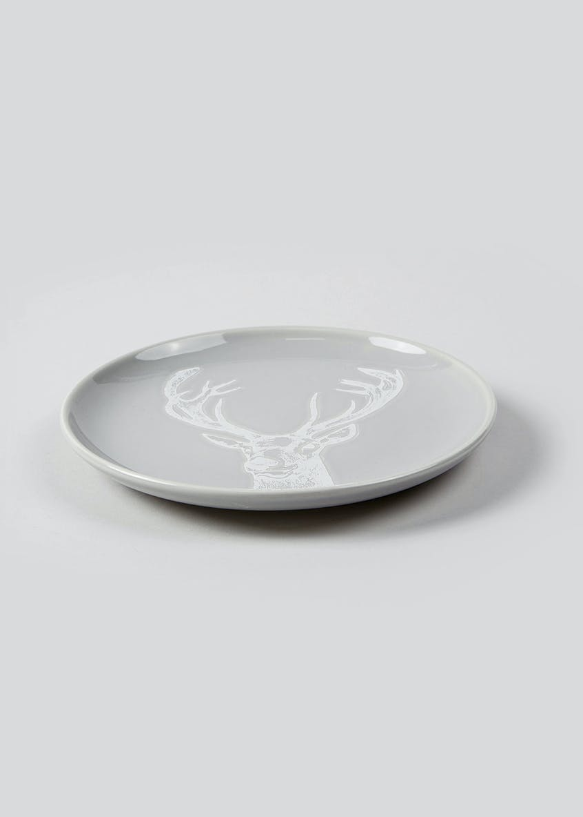 Embossed Stag Christmas Side Plate