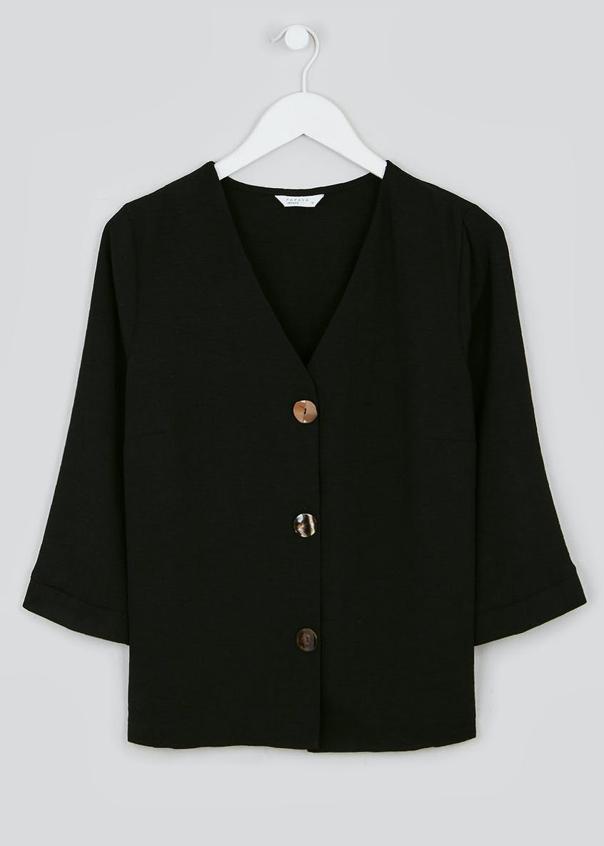 Black 3/4 Sleeve Button Front Blouse