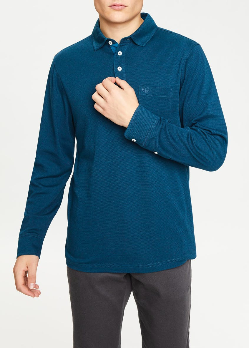 Lincoln Long Sleeve Fine Stripe Polo Shirt