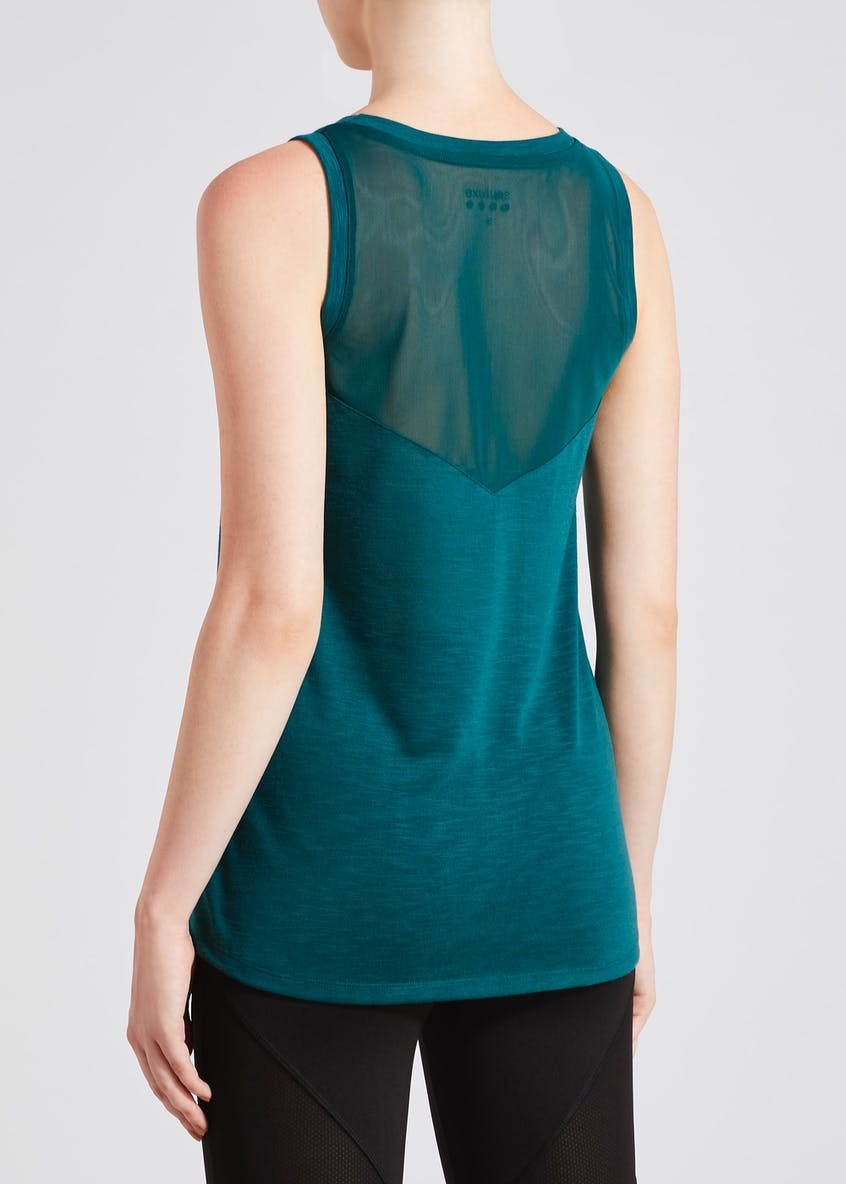 Souluxe Teal Pause & Reflect Slogan Gym Vest