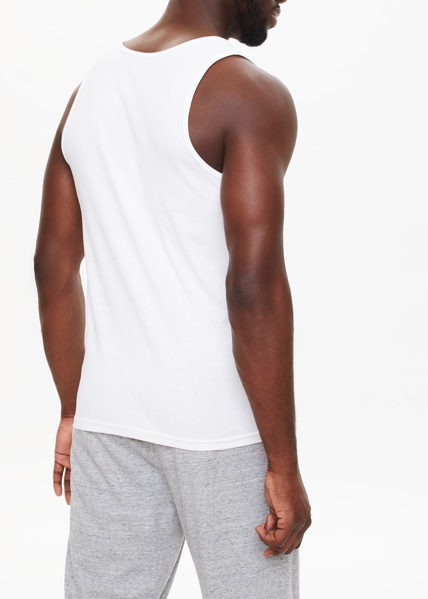 2 Pack White Ribbed Vests