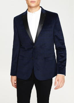 Taylor & Wright Navy Dawson Slim Fit Velvet Blazer