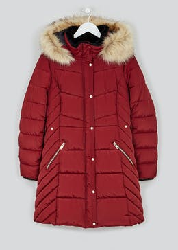 Faux Fur Hood Padded Parka Jacket
