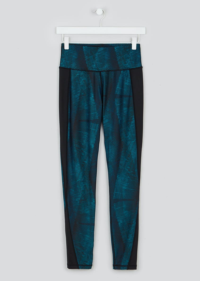 Souluxe Teal Linear Print Gym Leggings