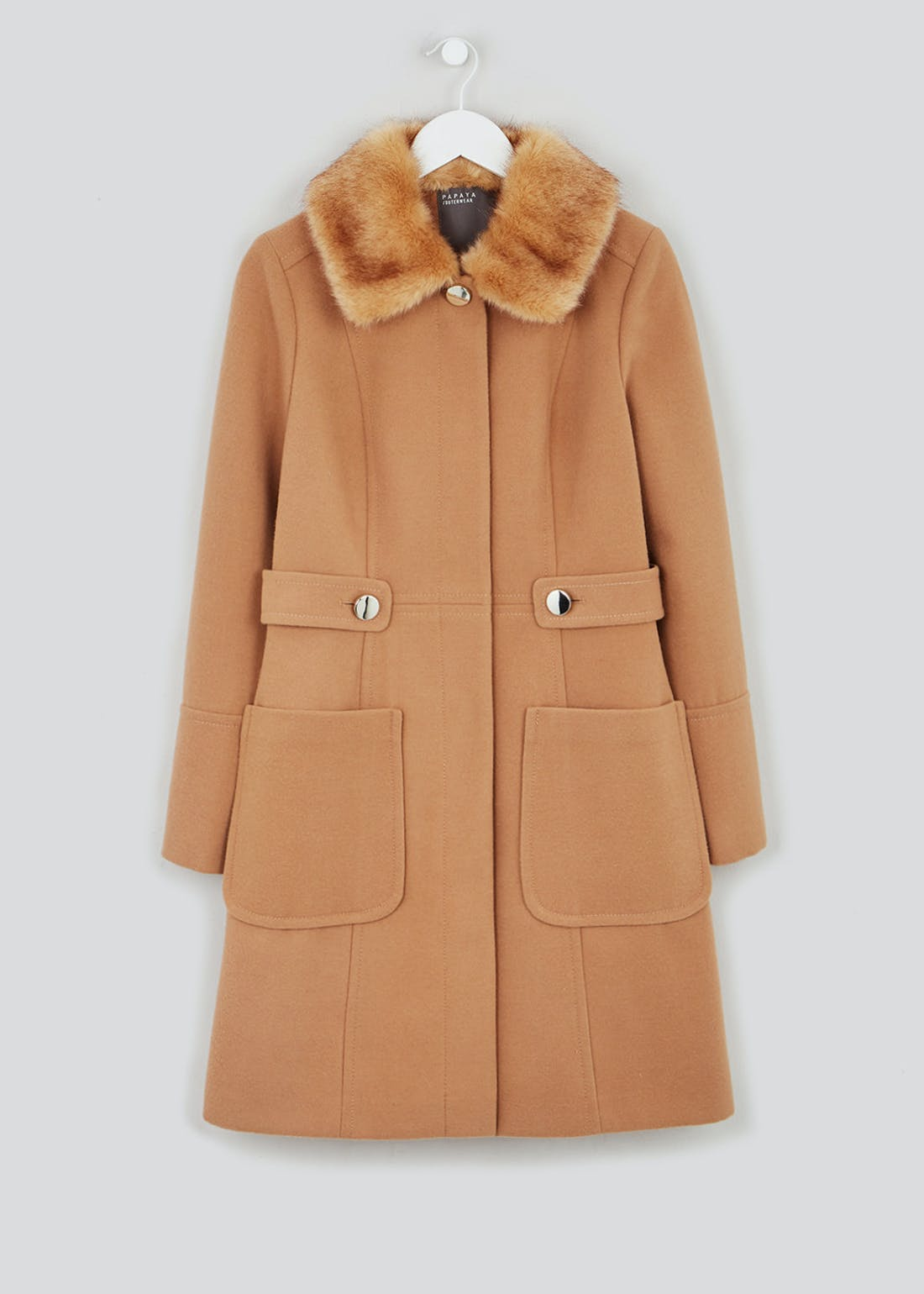 Brown Faux Fur Collar Dolly Coat