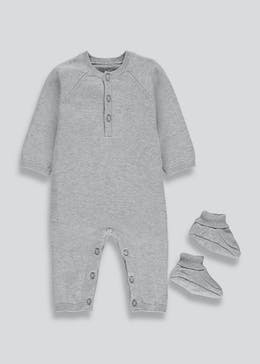 Unisex Knitted Baby Grow & Booties Set (Newborn-18mths)