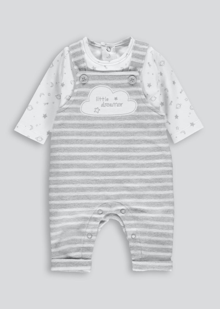 Unisex Stripe Fleece Dungarees & T-Shirt Set (Tiny Baby-18mths)
