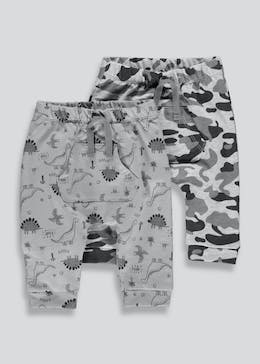 Unisex 2 Pack Dinosaur Jogging Bottoms (Tiny Baby-18mths)