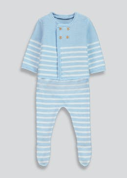 Unisex Stripe Knitted Cardigan & Trousers Set (Tiny Baby-18mths)