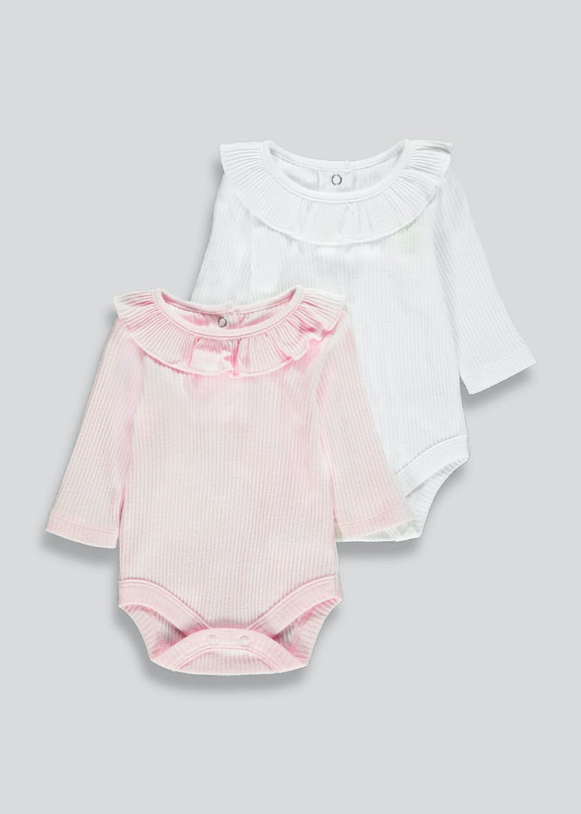 Girls 2 Pack Frill Bodysuits (Tiny Baby-18mths)