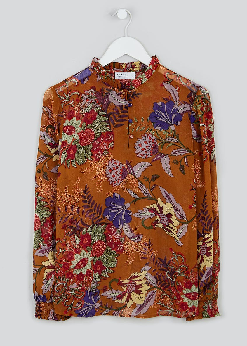 Brown Floral Shirred High Neck Blouse