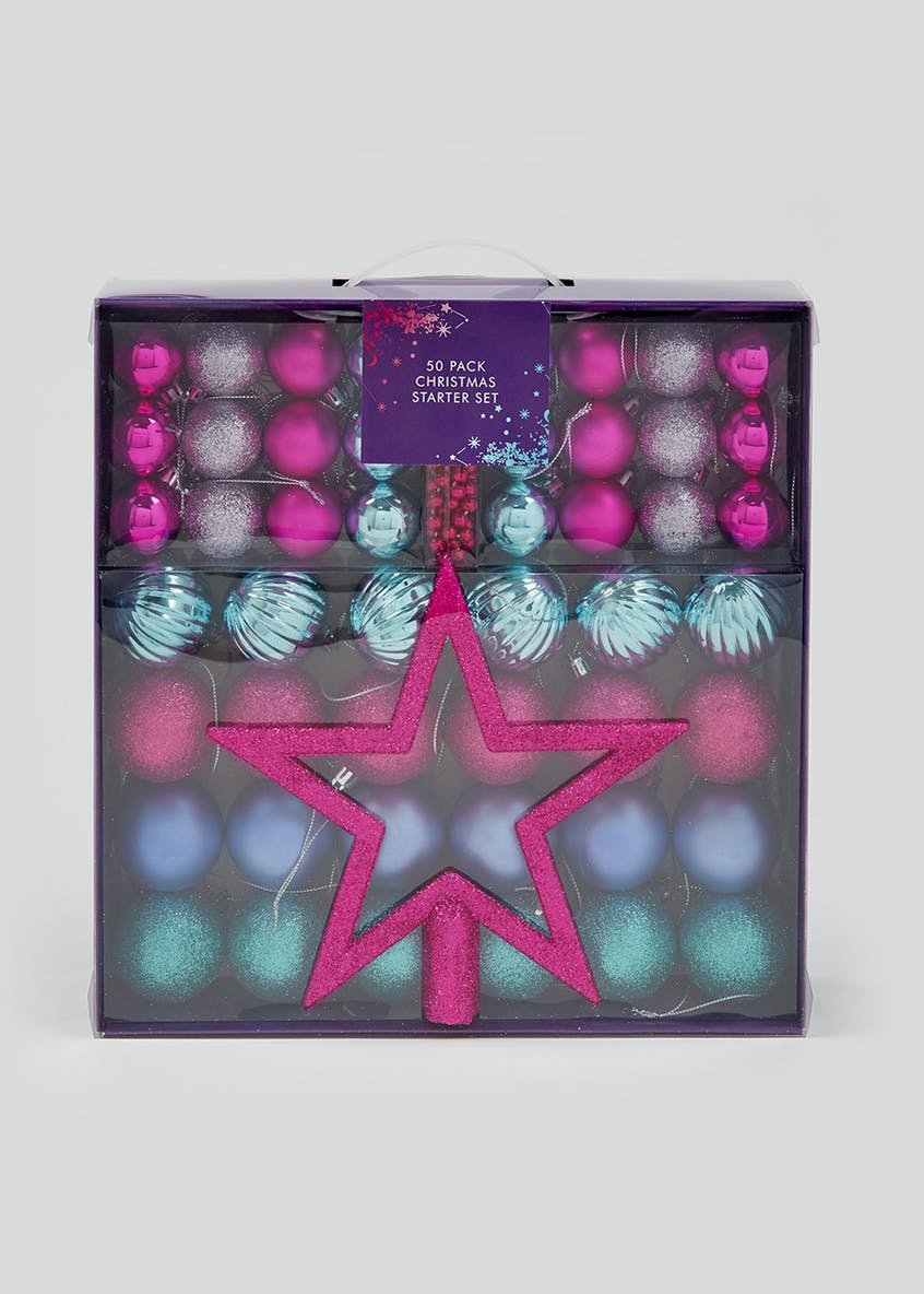 50 Pack Christmas Tree Decoration Set