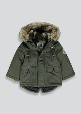 Kids Khaki Hooded Parka Coat (9mths-6yrs)