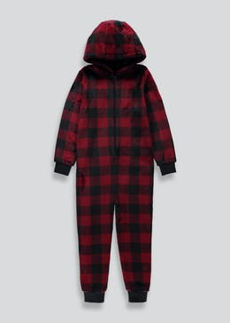 Kids Check Fleece Onesie (4-13yrs)