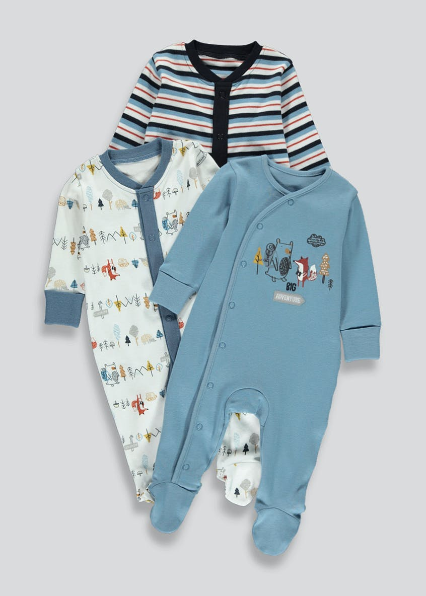 Boys 3 Pack Woodland Baby Grows (Tiny Baby-18mths)