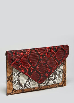 Envelope Faux Snake Skin Clutch
