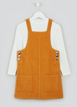 Girls Cord Pinafore Dress and Top Set (4-13yrs)
