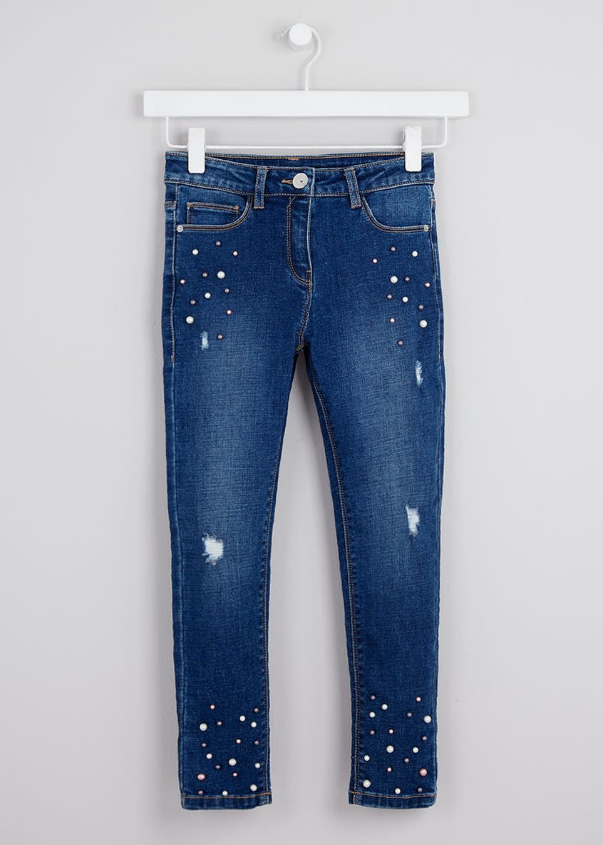 Girls Pearl Embellished Jeans (4-13yrs)