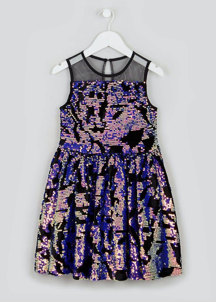 Girls Black Sequin Sleeveless Dress (4-13yrs)