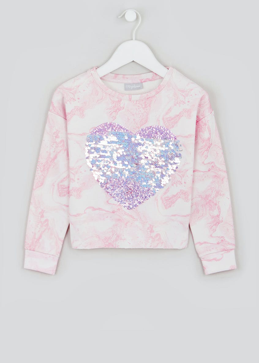 Girls Heart Sequin Sweatshirt (4-13yrs)