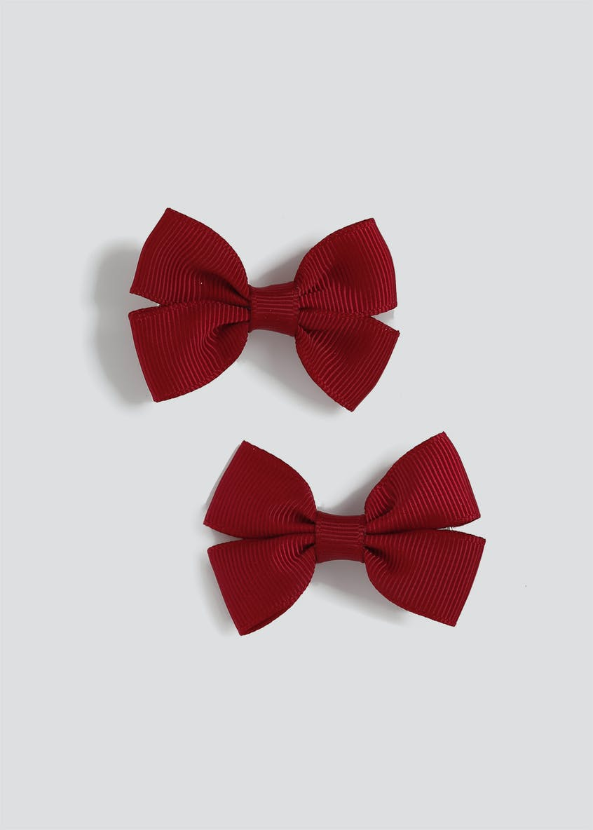 Girls Back to School 2 Pack Burgundy Bow Clips