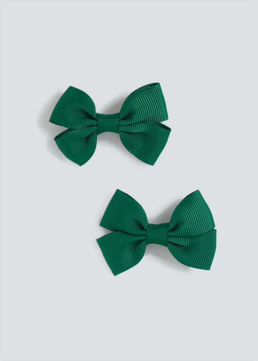 Girls Back to School 2 Pack Green Bow Clips
