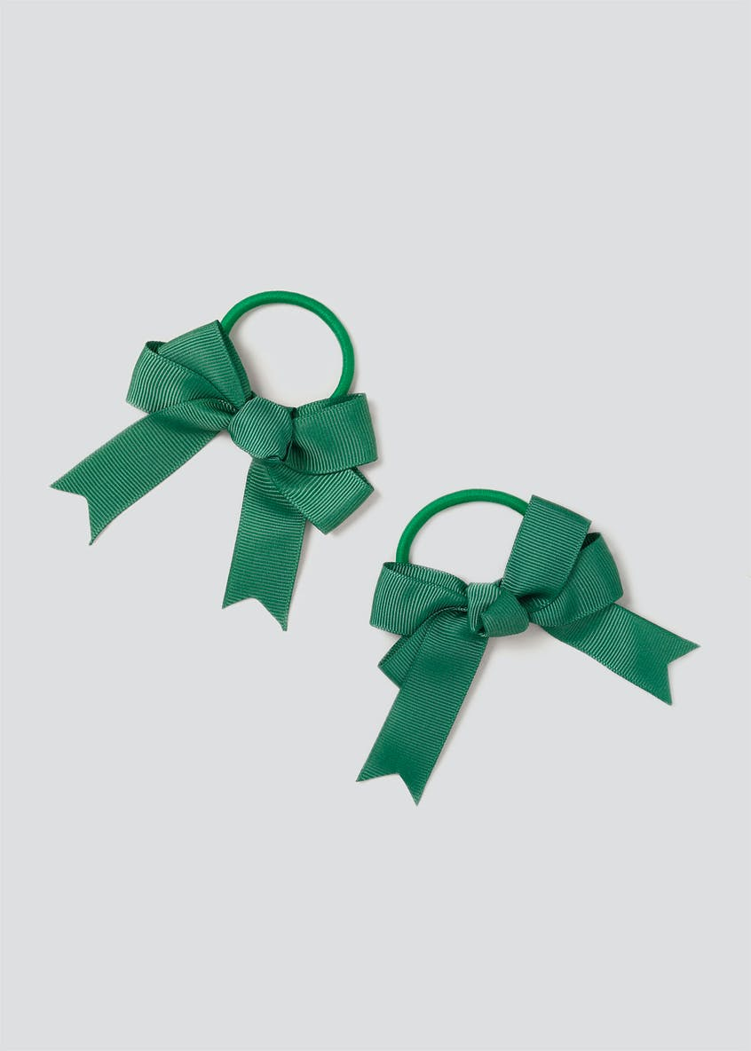 Girls Back to School 2 Pack Green Bow Ponio