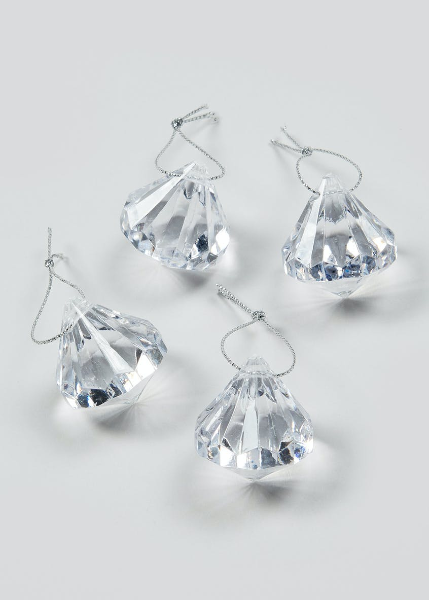 15 Pack Diamond Effect Christmas Tree Decorations (3.5cm)
