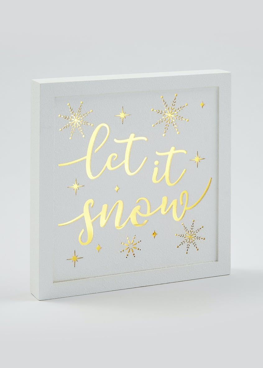 LED Let It Snow Plaque