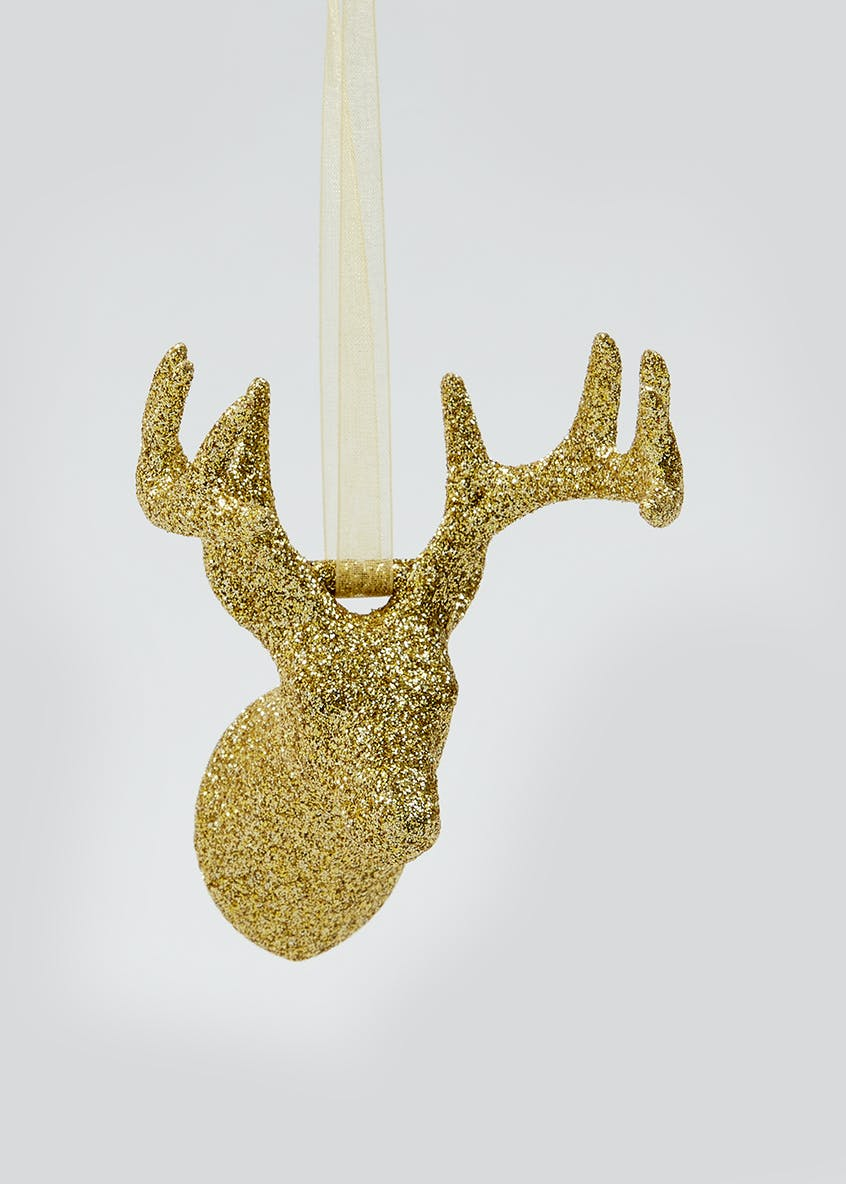 Glitter Stag Christmas Tree Decoration (13cm)