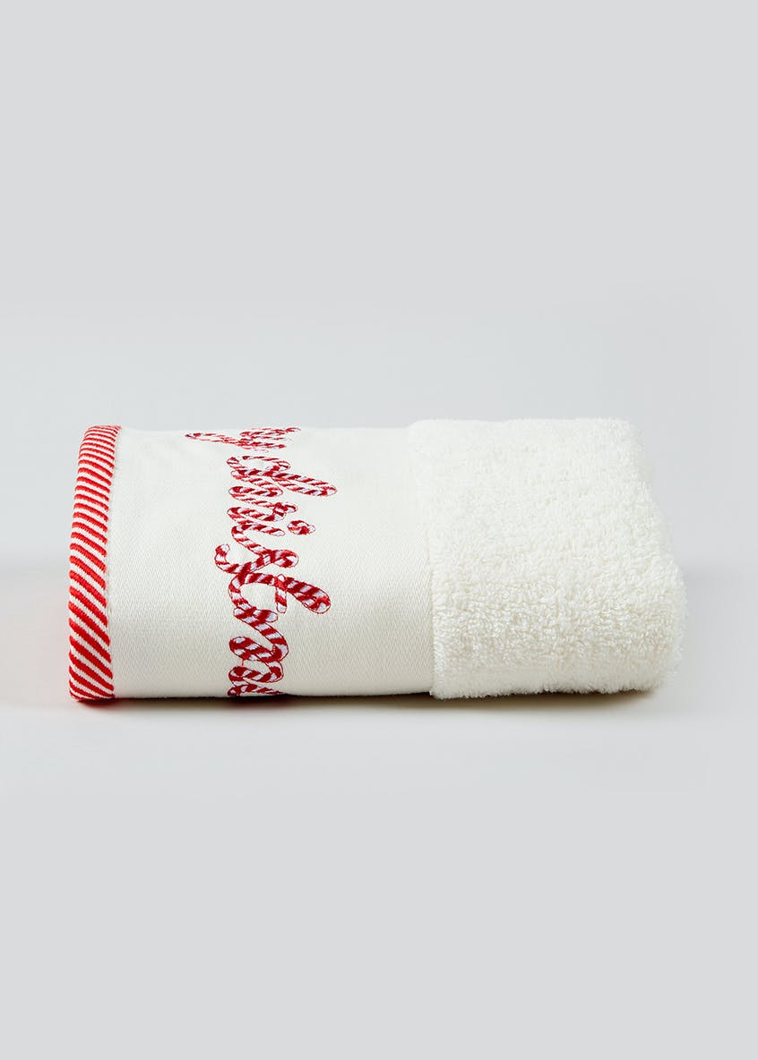 Candy Cane Christmas Hand Towel