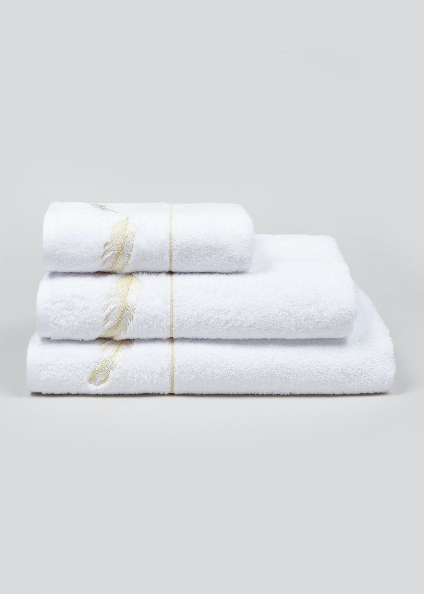 Feather Embroidered Towels