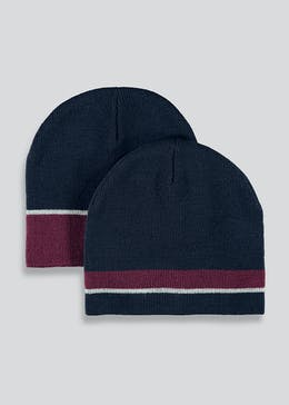 2 Pack Stripe Beanie Hats