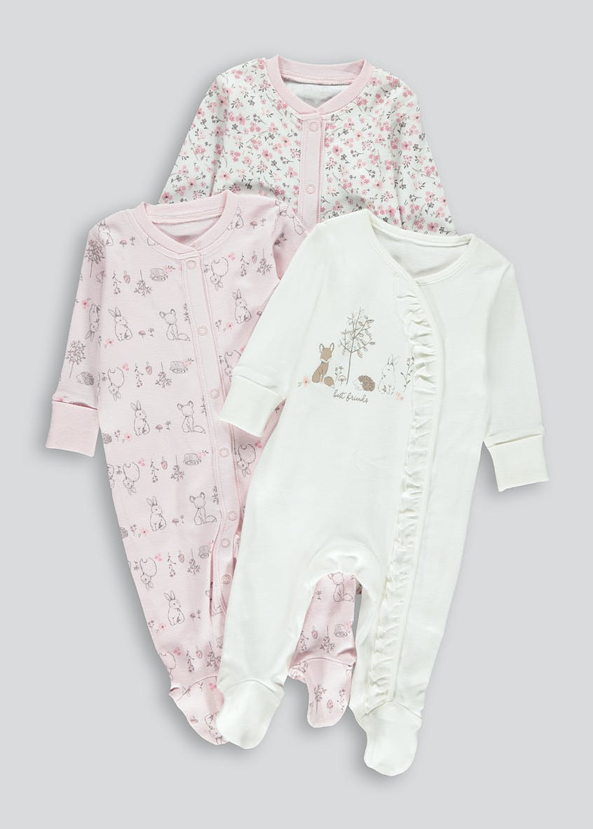 Girls 3 Pack Baby Grows (Tiny Baby-18mths)