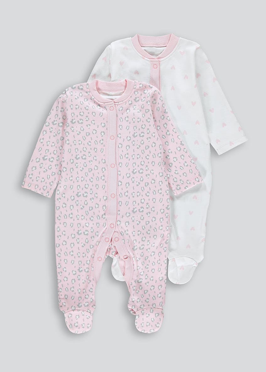 Unisex 2 Pack Heart Leopard Print Baby Grows (Tiny Baby-18mths)