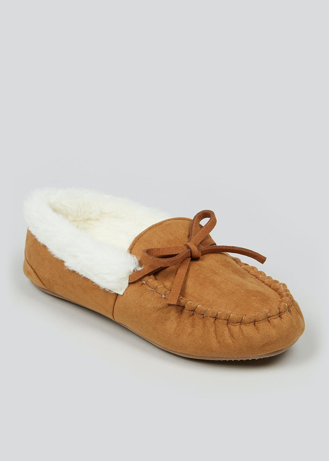 Tan Faux Fur Lined Moccasin Slippers