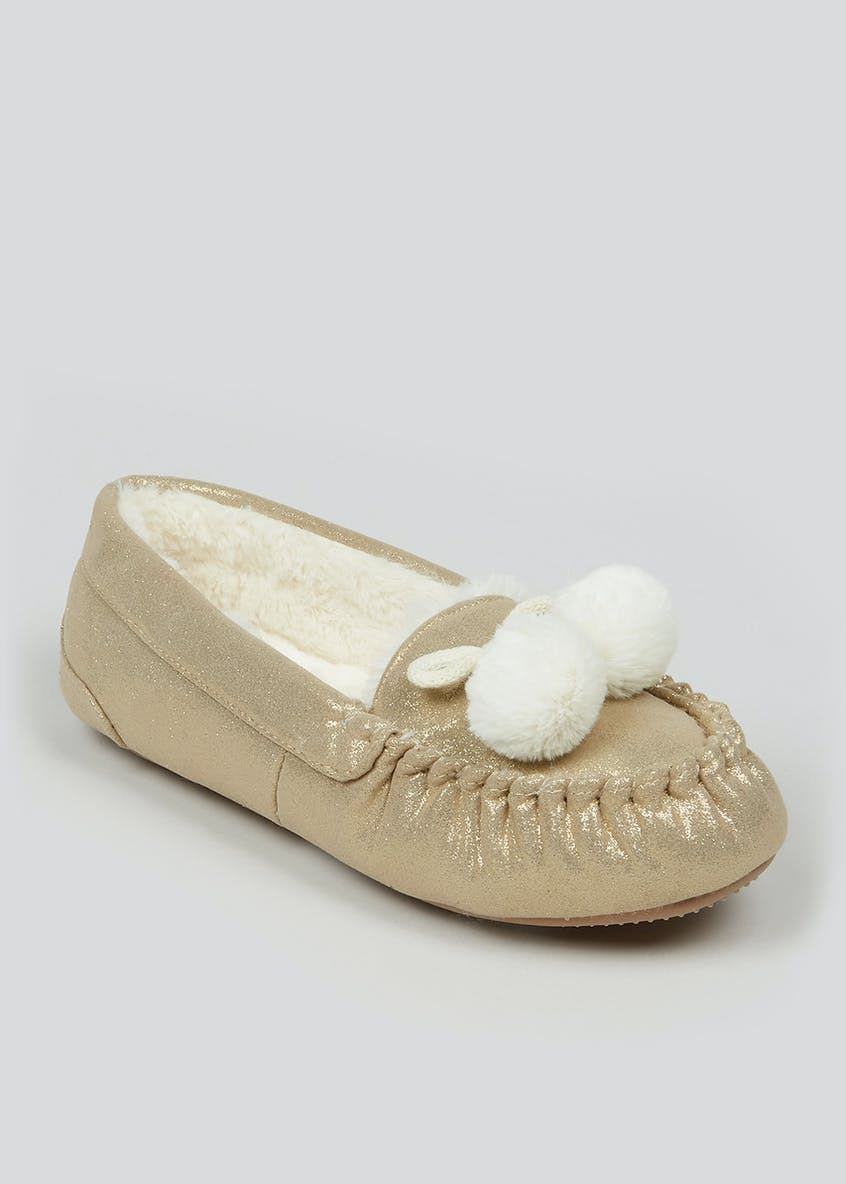 Gold Faux Fur Moccasin Slippers