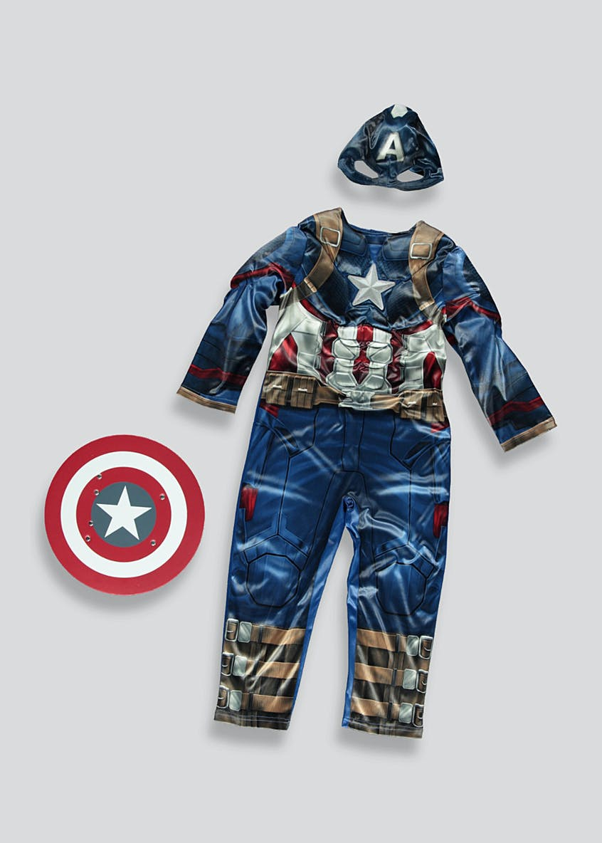 Kids Captain America Marvel Fancy Dress Costume (3-9yrs)