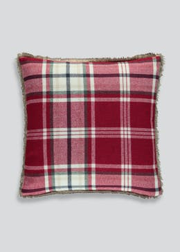 Tartan Faux Fur Cushion
