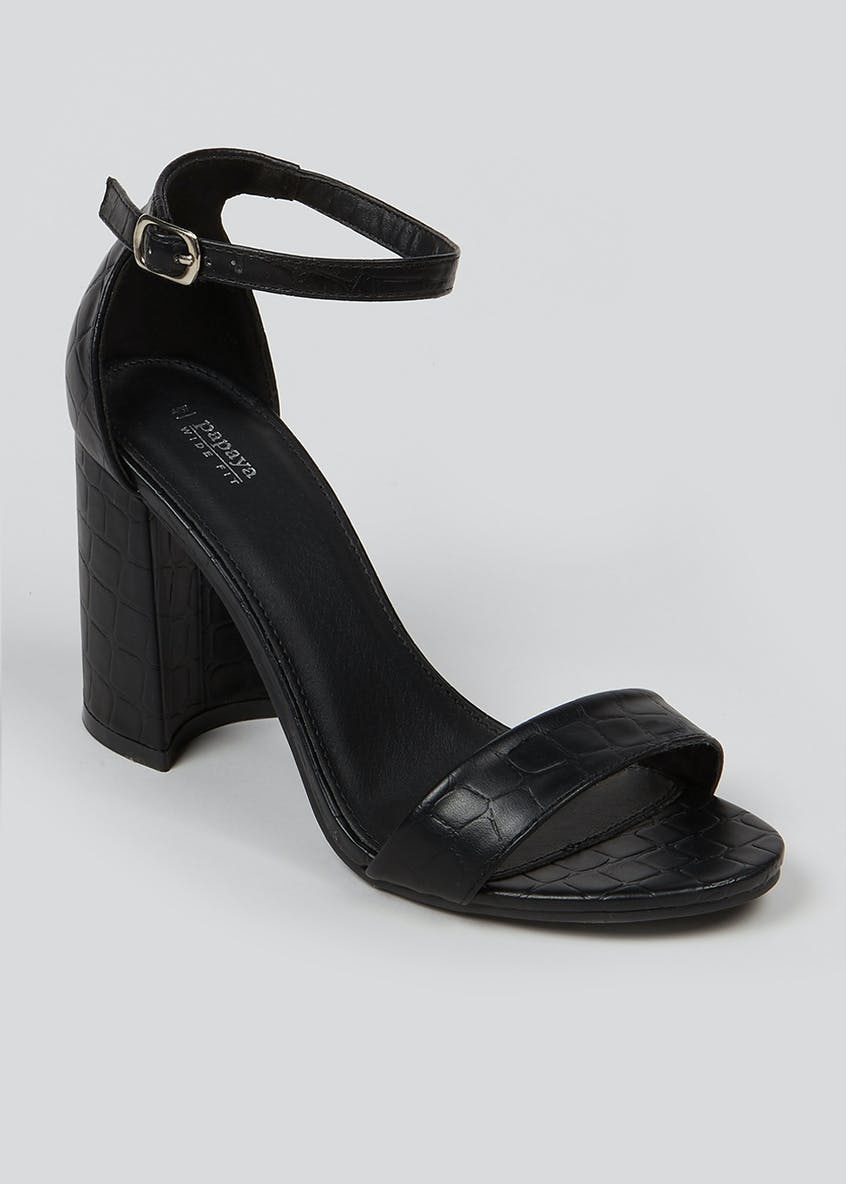 Wide Fit Black Mock Croc Heeled Sandals