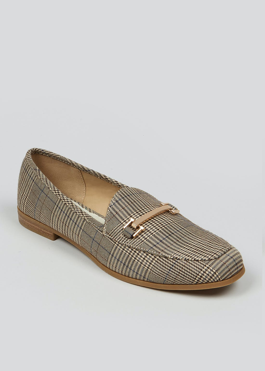 Grey Check Snaffle Loafers