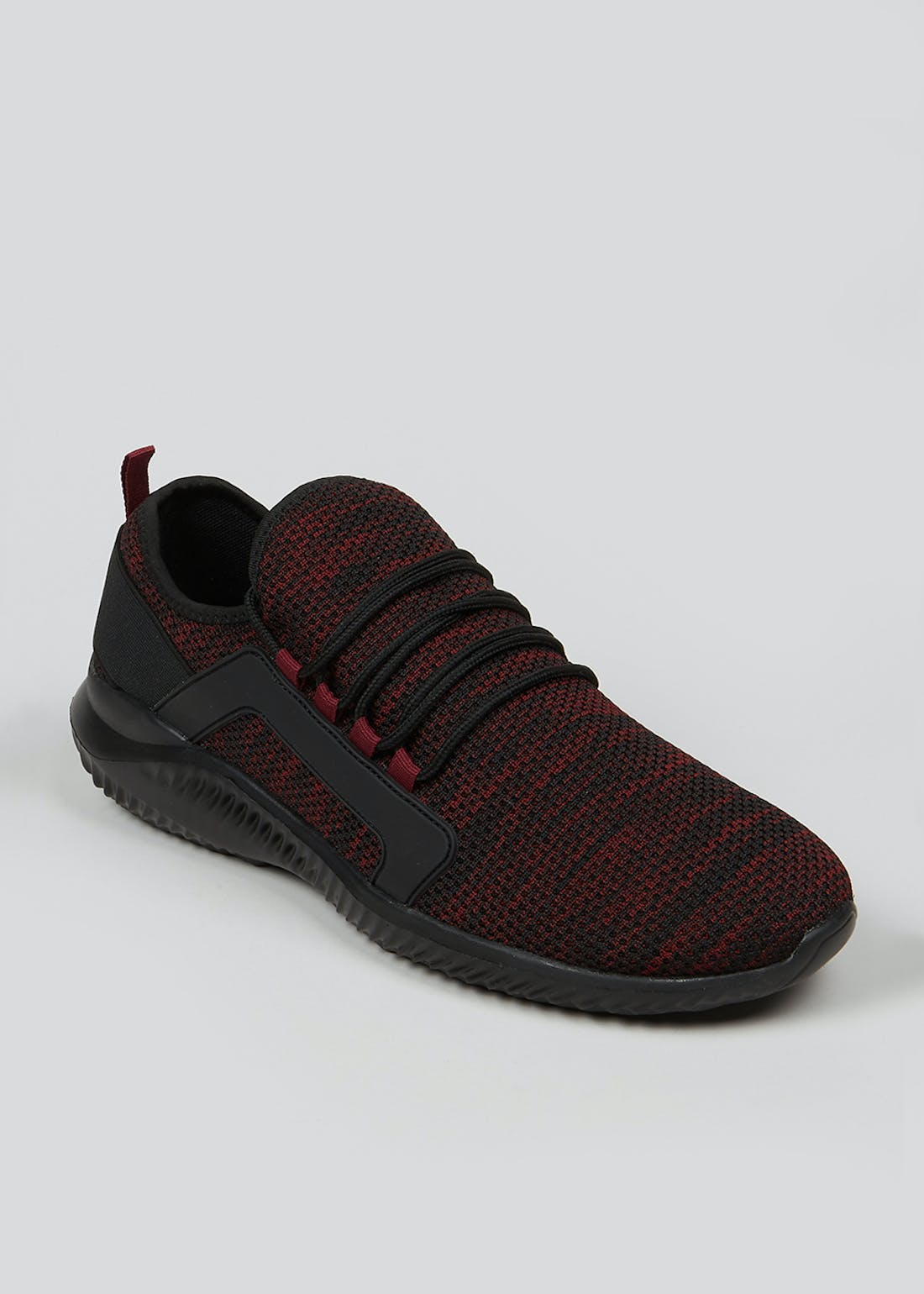 Souluxe Burgundy Knitted Trainers