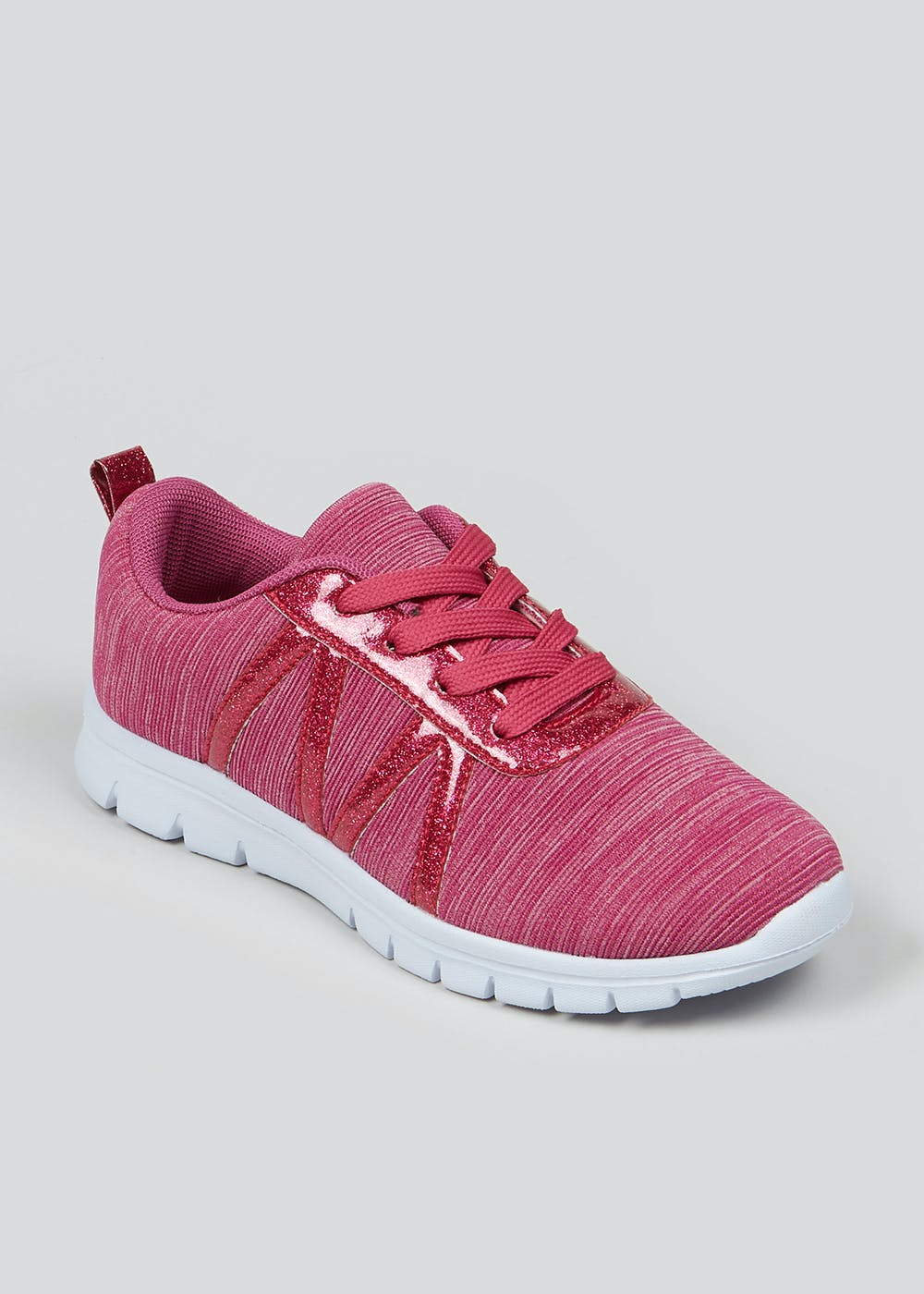 Girls Souluxe Pink Glitter Trainers