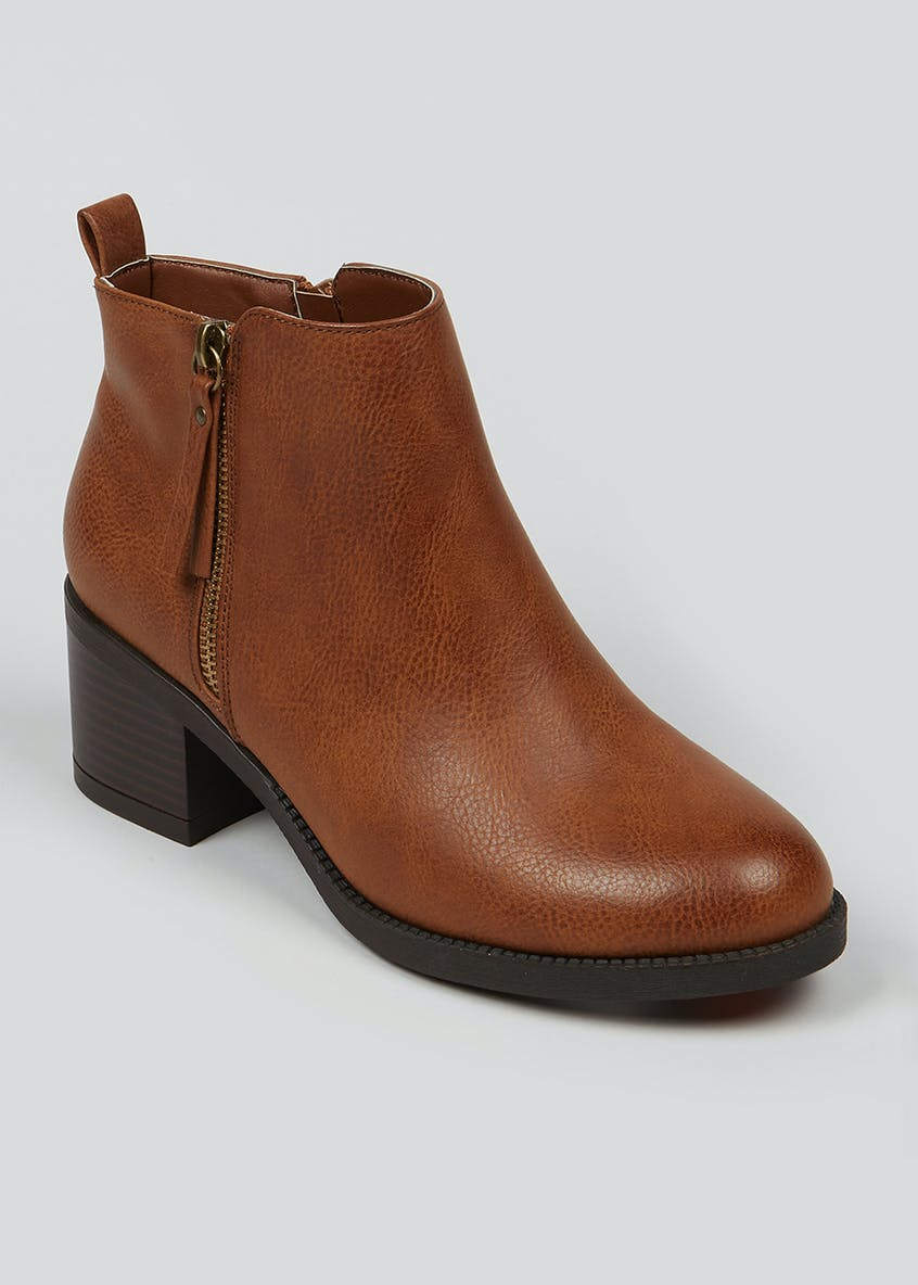 Wide Fit Zip Ankle Boots