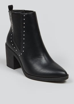 Pointed Block Heel Ankle Boots