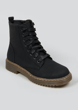 Black Lace Up Worker Boots