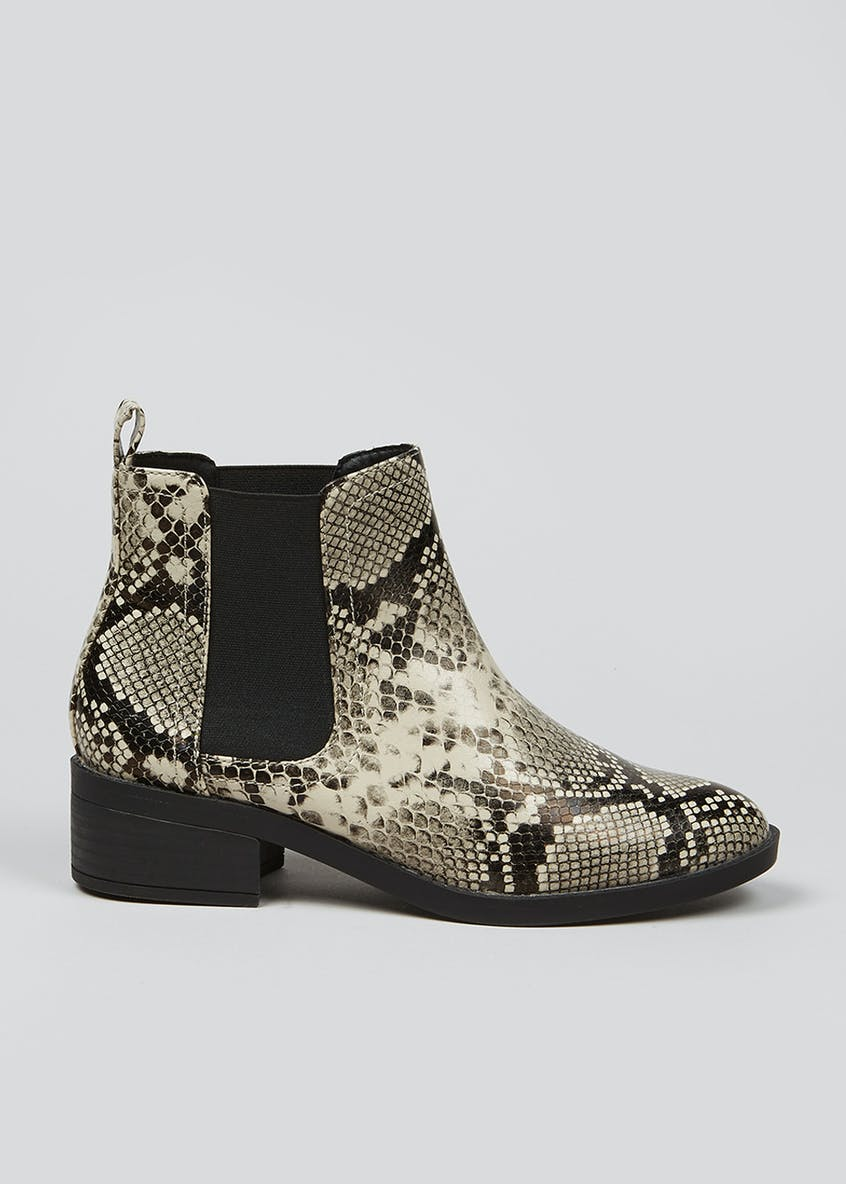 Faux Snake Print Chelsea Boots